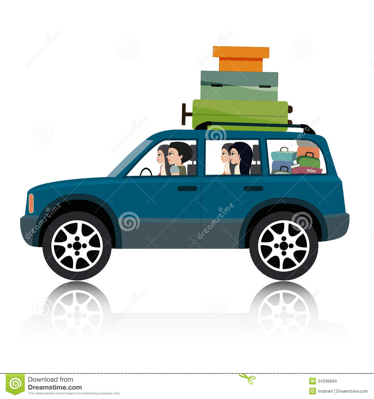 Car With Luggage Clipart Cartoon Car With Luggage