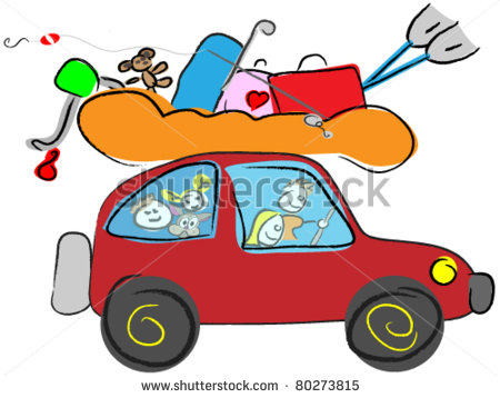 Car With Luggage Clipart Funny Car With Luggage