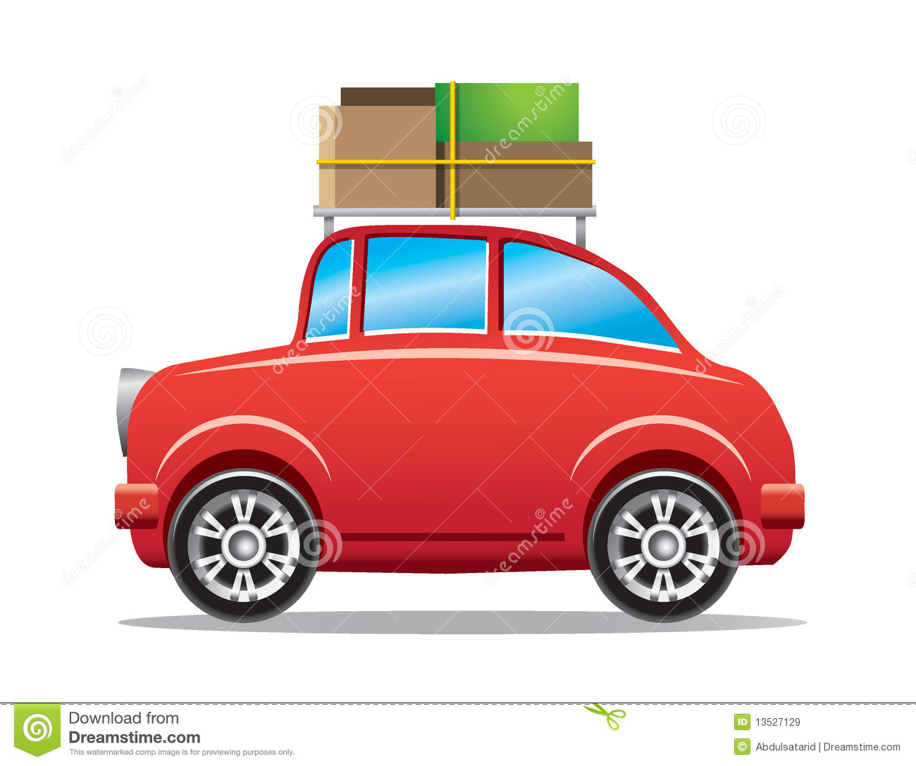 Car With Luggage Clipart Red Car With Luggage Rack