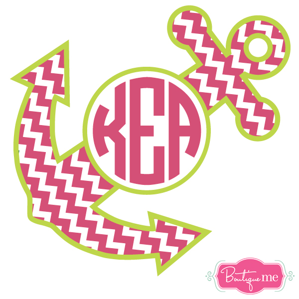 Chevron With Anchor Monogram Decal Clipart