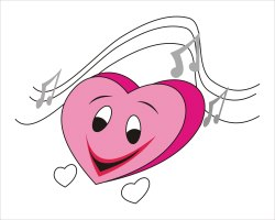 Clip Art Of A Smiling Pink Heart With Musical Notes