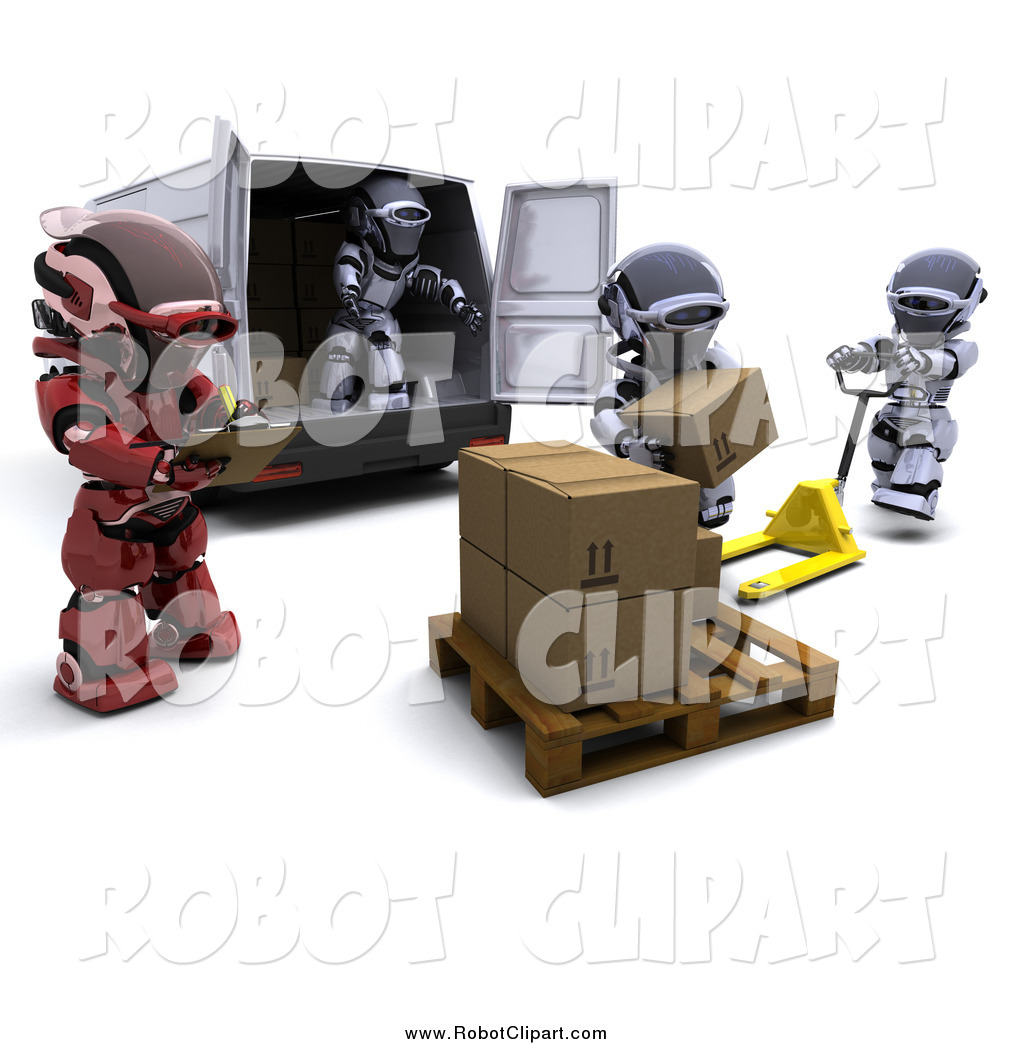 Clipart Of A 3d Red Supervisor Robot Watching Others Load Boxes Into A