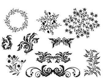 Damask Swirl Flower Designs Silhouette Boutique Clipart 1072