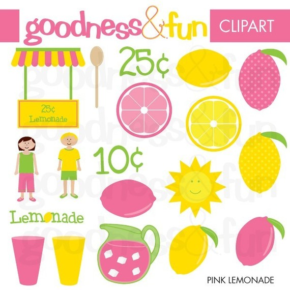 Digital Clipart Pink Lemonade By Goodnessandfun On Etsy