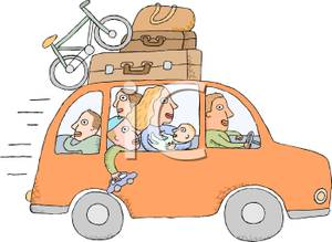 In A Car With A Bike And Luggage On Top   Royalty Free Clipart Picture