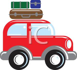 Luggage On Top Of A Cartoon Suv   Royalty Free Clipart Picture