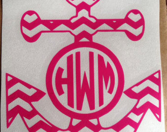 Monogrammed Chevron Anchor Decal