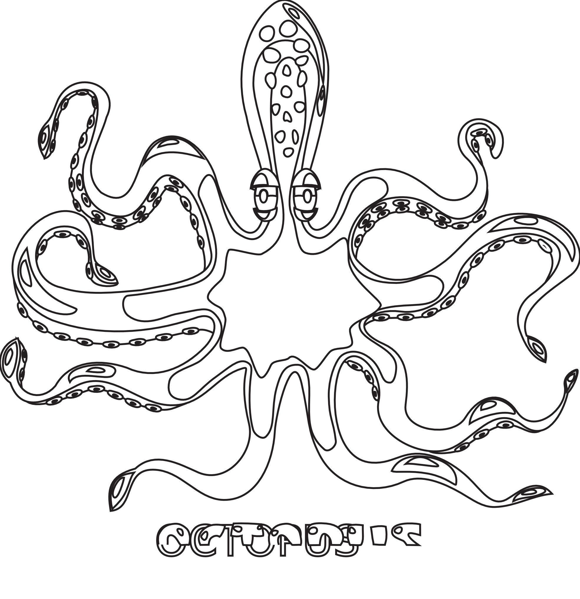 Octopus Black White Line Art Coloring Book Colouring Coloring Book
