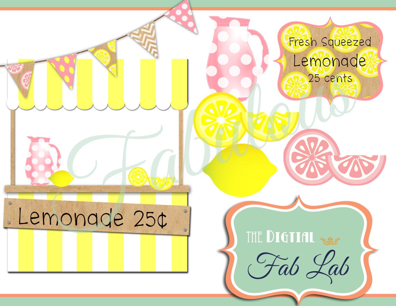 Pink Lemonade Digital Clipart Lemonade Stand By Digitalfablab