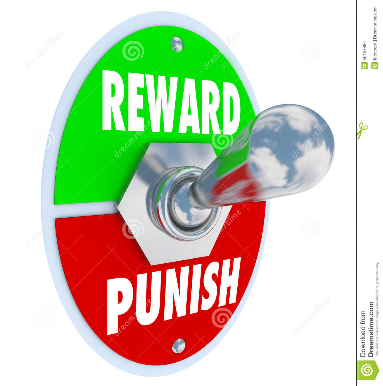 Reward And Punish Words On A Toggle Switch Or Lever To Illustrate