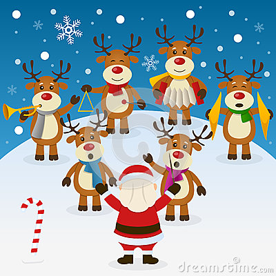 Six Cute Reindeer Characters Playing Musical Instruments And Singing