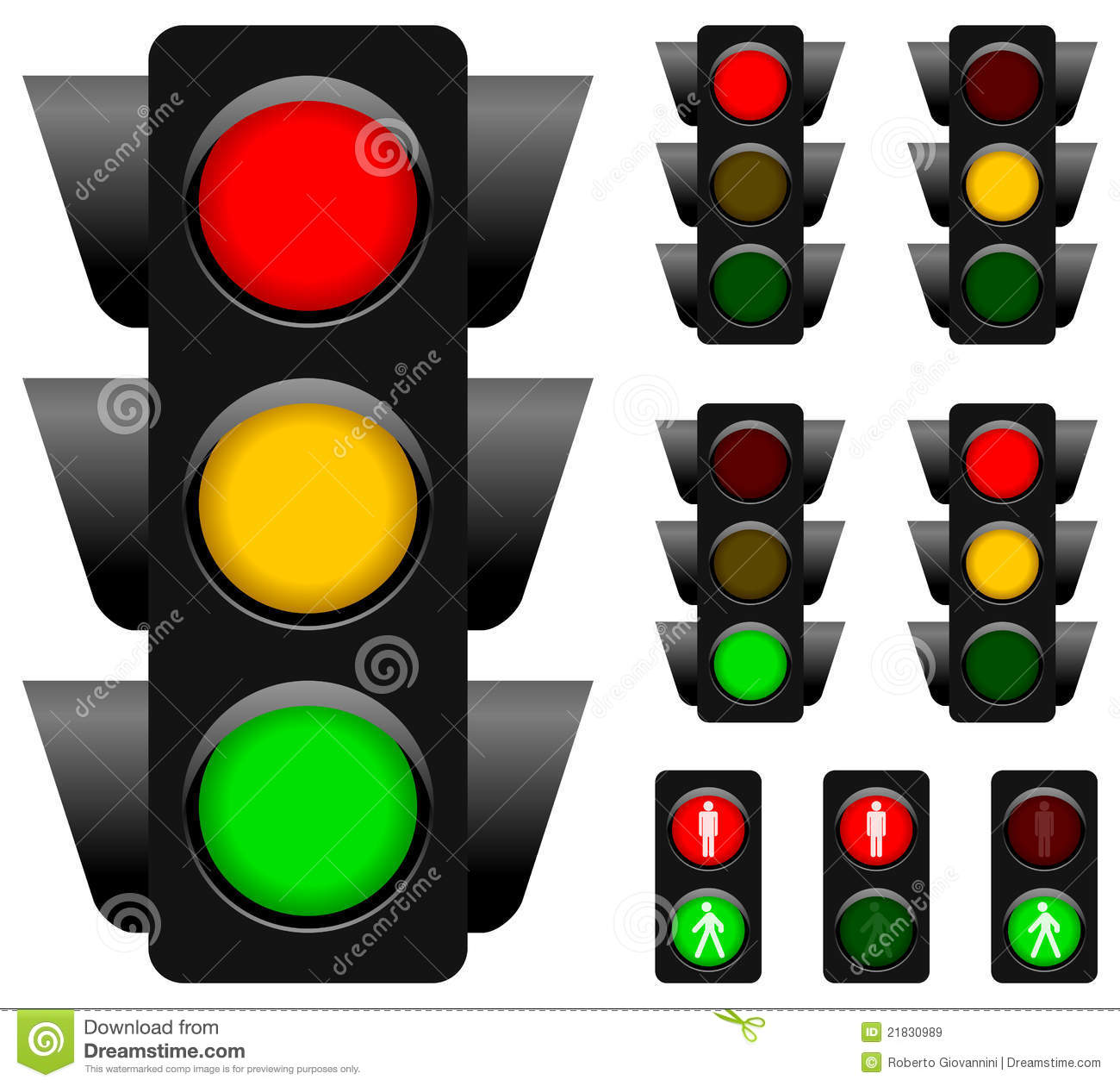 Traffic Light Collection For Vehicles And Pedestrians Isolated On