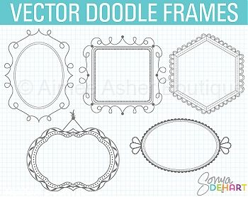 Vector Doodle Frames    Doodles    Clipart And Graphics    Aimee Asher