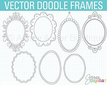 Vector Doodle Frames   Oval    Doodles    Clipart And Graphics