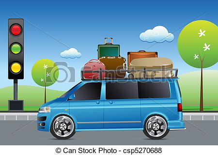 Vector Of Car In Traffic With Luggage   Illustration Of Car In Traffic