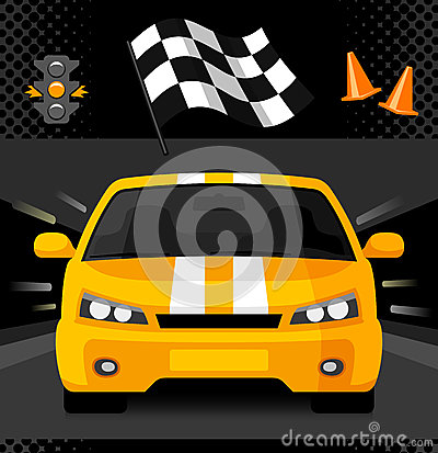 Yellow Street Racing Car With Sport Checkered Flag Traffic Light And