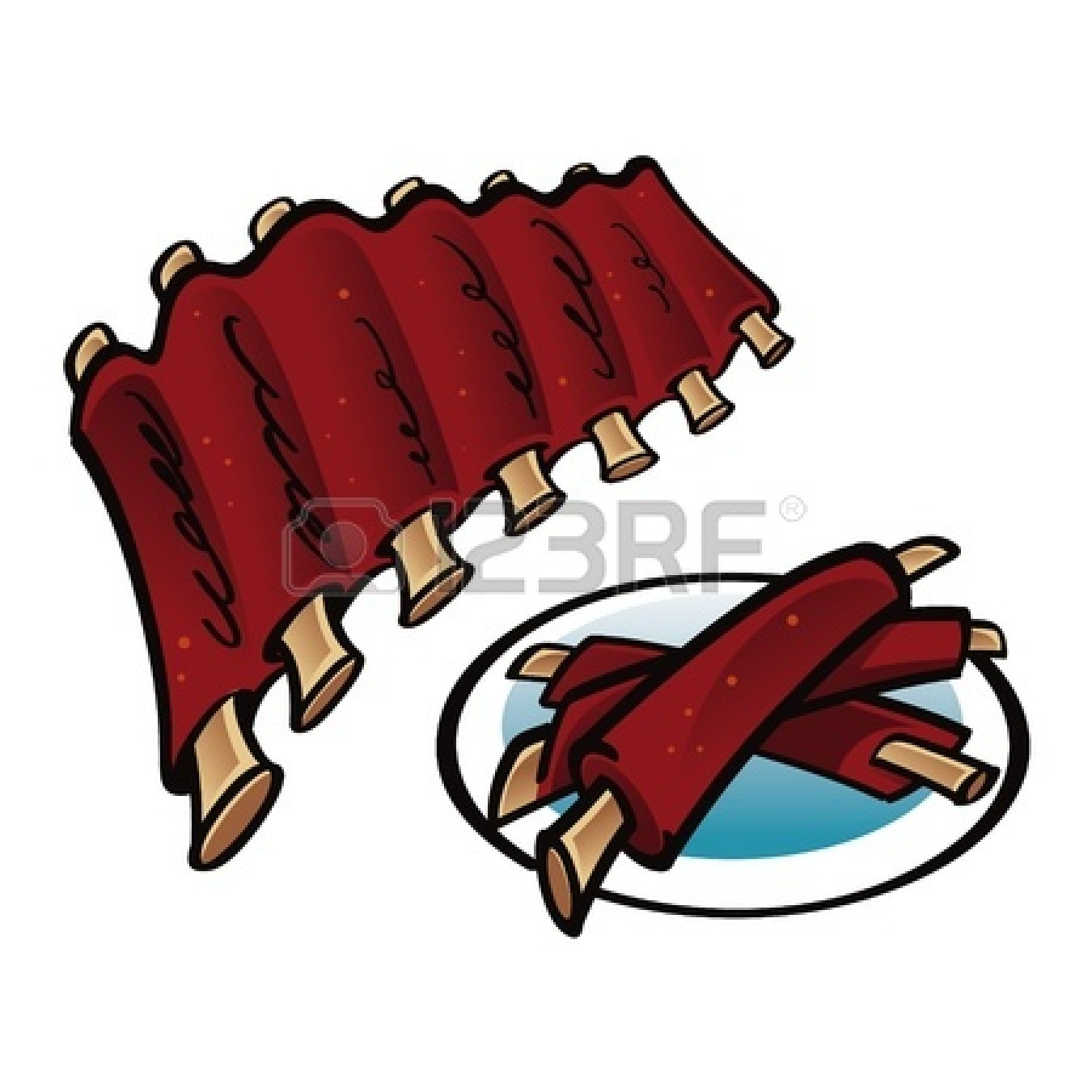 Bbq Ribs Clipart 11783139 Grilled Ribs On The Plate Food Meat Jpg