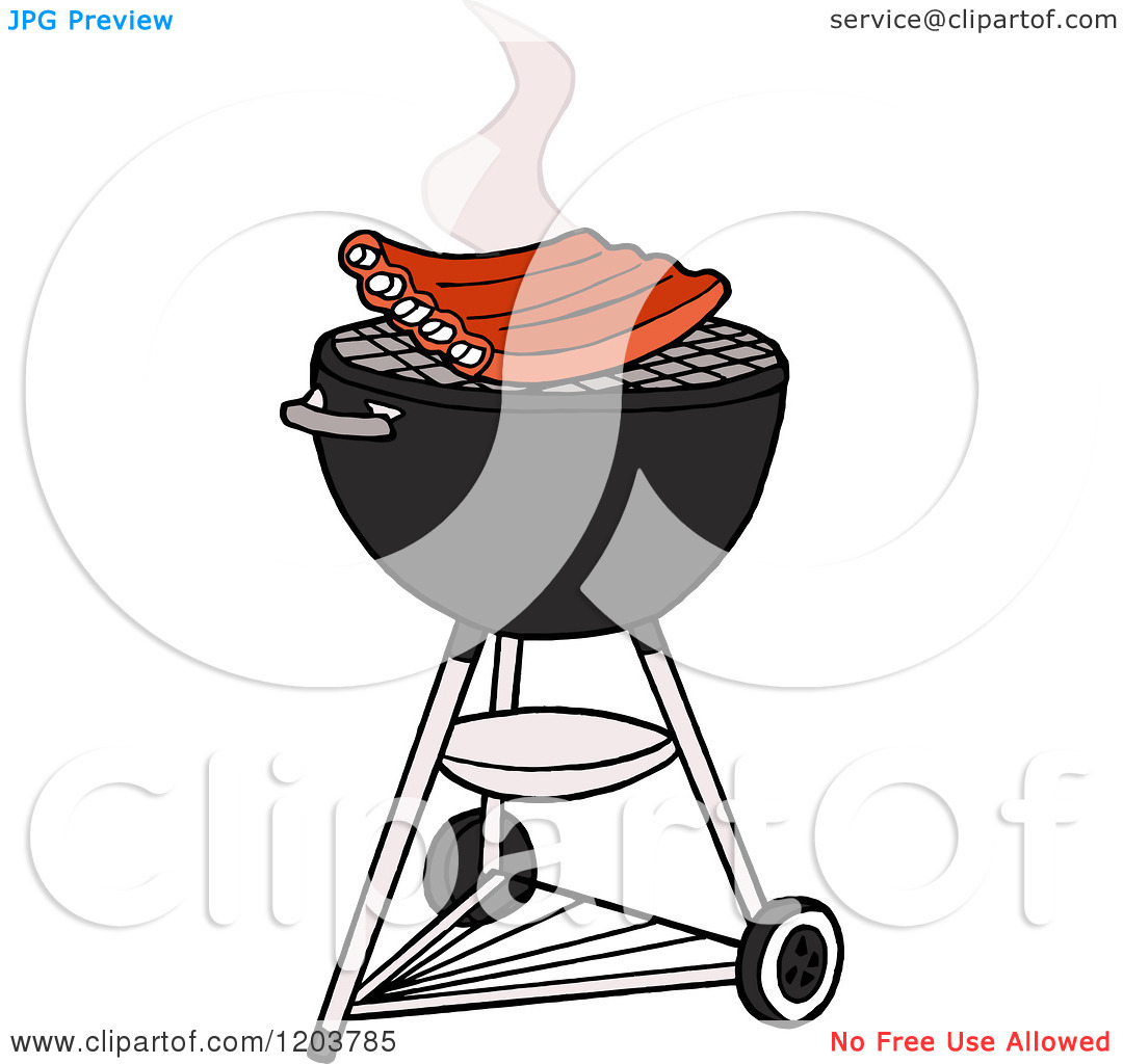 Cartoon Of Bbq Ribs Cooking On A Weber Charcoal Grill   Royalty Free