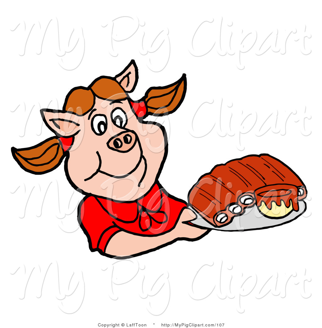 Clipart Of A Hungry Pig Girl In A Red Shirt Holding A Tray Of Bbq
