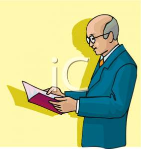 Clipart Picture Of A Business Man Reading A Report