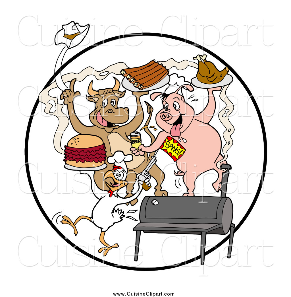 Cuisine Clipart Of Cow Pig And Chicken Dancing With Ribs Burgers And