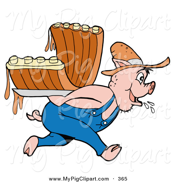 Swine Clipart Of A Farmer Pig Carrying Bbq Ribs On His Back By