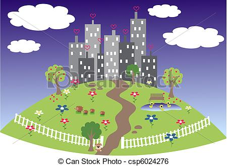 Art Vector Of A Friendly City On A Hill Csp6024276   Search Clipart