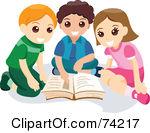 Children Reading A Book Clipart