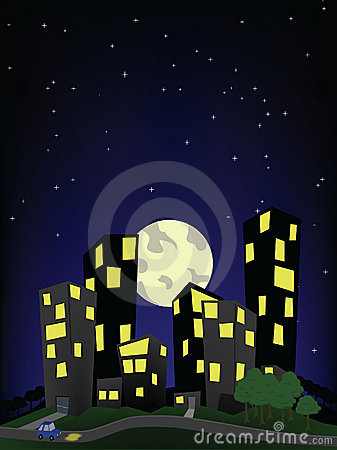 City On A Hill Night Scene Stock Photos   Image  8983753