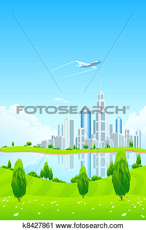 Clipart   City Landscape With Green Hills And Lake  Fotosearch