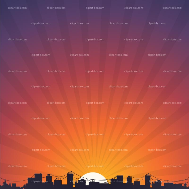 Clipart City Sunrise   Royalty Free Vector Design