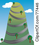 Clipart Illustration Of A Road Winding Around A Tall Hill With Trees