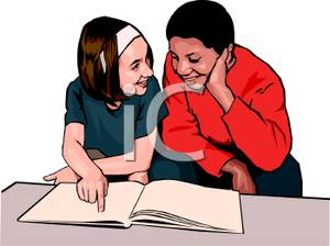Of Two Students Reading A Book Together   Royalty Free Clipart Picture
