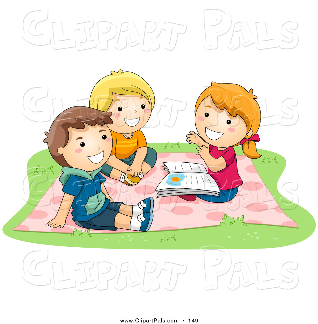 Pal Clipart Of A Tio Of Children   A Girl And Two Boys Sitting On A
