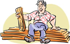 Pile Of Lumber Holding A Plank In His Hand   Royalty Free Clipart