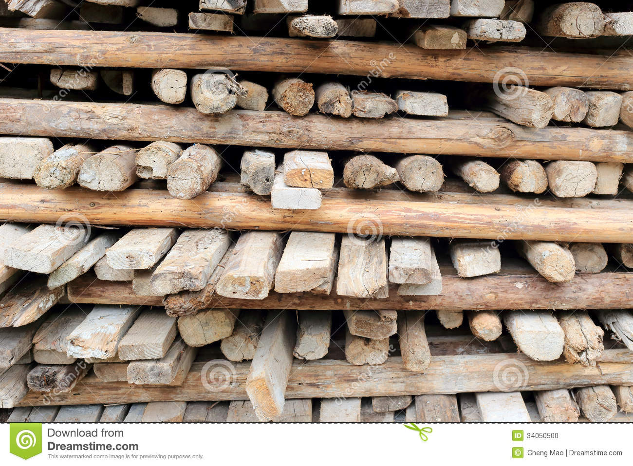 Pile Of Old And Dirty Lumber Stock Photo   Image  34050500