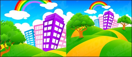 Report Browse   Nature   Landscapes   City On Green Hill Rainbow