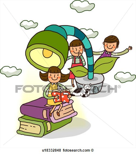 Stock Illustration   Girl Reading A Book With Two Boys Standing Behind
