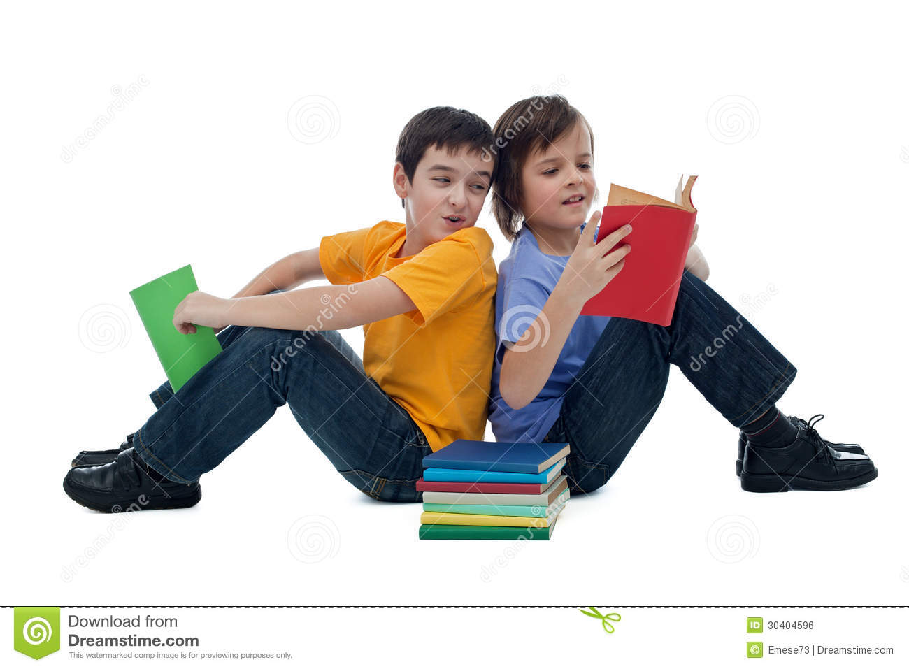 Two Boys Reading Books Royalty Free Stock Image   Image  30404596
