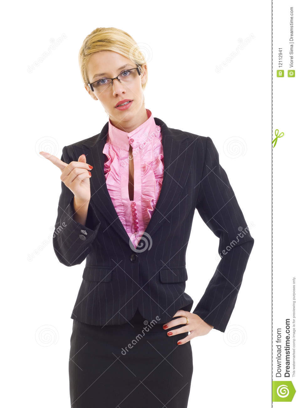 Angry Businesswoman Pointing At You Over White Background