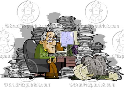 Cartoon Old Man At A Cluttered Messy Desk Clipart