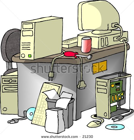 Clipart Illustration Of A Cluttered Desk With Computer Equipment