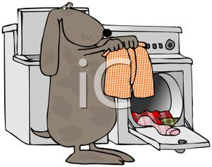 Gray Dog Doing Laundry   Royalty Free Clipart Picture