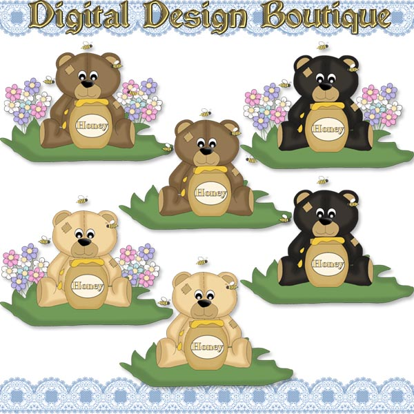 Home    Resale Or Commercial Use Clipart Non Exclusive    Bear N Honey