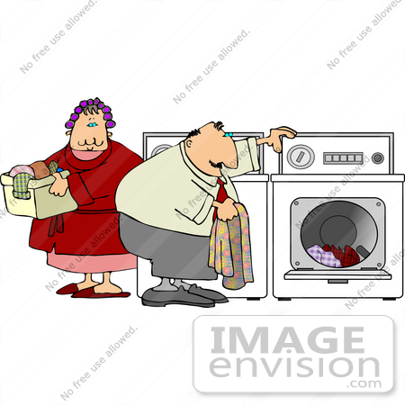 Middle Aged Caucasian Couple Doing Laundry Clipart    14517 By Djart