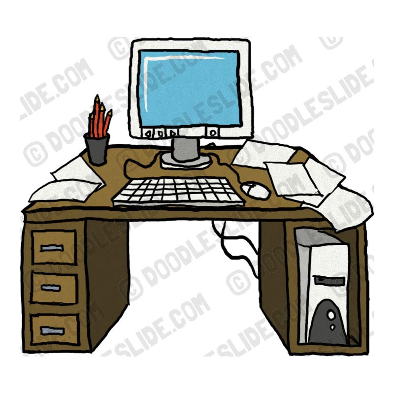 Neat Desk Clipart Desk Cluttered Jpg