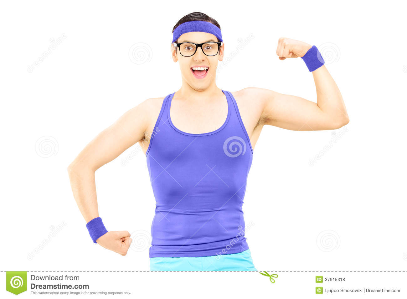 Nerdy Man In Sportswear Showing Bicep Royalty Free Stock Photos