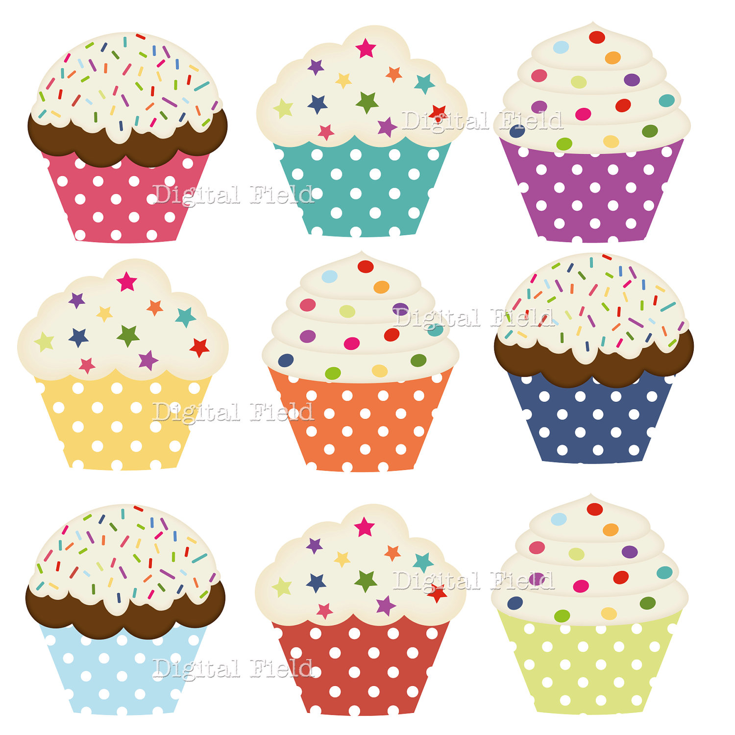 Polka Dot Cupcake Clip Art Set Colorful Printable By Digitalfield