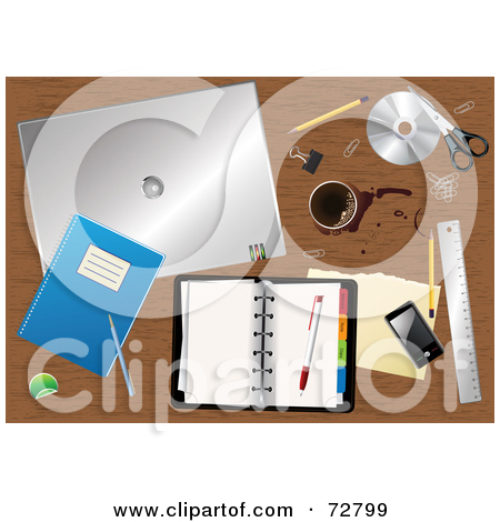 Royalty Free  Rf  Clipart Illustration Of A Cluttered Wooden Desk Top
