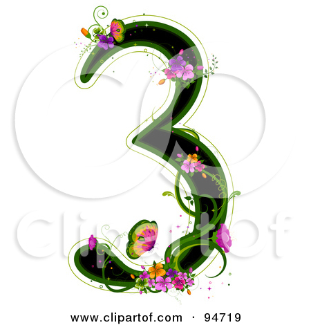 Royalty Free  Rf  Illustrations   Clipart Of Floral Numbers  1